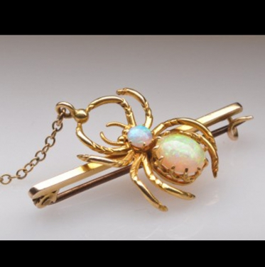 Antique Crystal Opal Spider Brooch