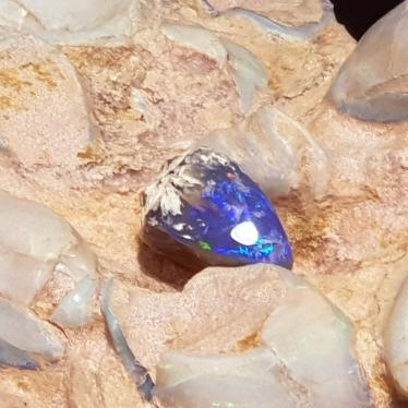 Black Opal Specimen - Purple Blue Fire